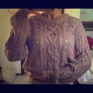 Cable knit crop sweater, Moon and Madison